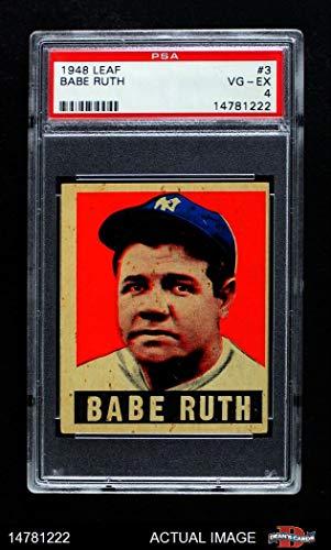 - 1948 Leaf # 3 Babe Ruth New York Yankees (Baseball Card) PSA 4 - VG/EX Yankees