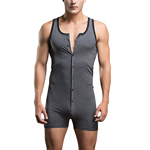 Price comparison product image Verypoppa Men's Sleeveless T Shirts Tank Tops Shorts Jumpsuit Romper (US S / Asia Tag M, Gray)