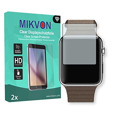 2x Mikvon Clear Screen Protector for Apple Watch 42 mm (2016) – Retail Package with accessories (intentionally smaller than the display due to its curved surface)