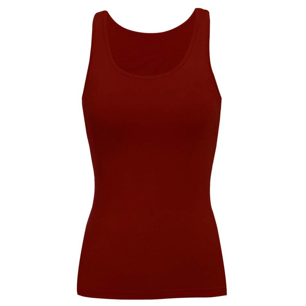 SLIMBELLE Damen BH-Hemd mit Unsichtbarer BH ohne B/ügel Unterhemd Rundhals Basic Tank Tops f/ür Cup A-C