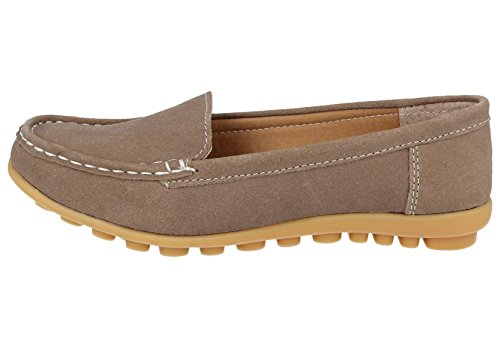 Koo-T Ladies Womens Loafer Shoes Suede Leather Driving Comfortable Flats Summer Deck Size 3 4 5 6 7 8 Taupe (Crete) wFDQTBT