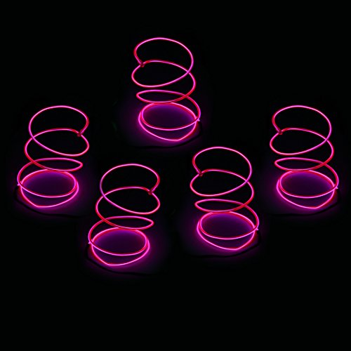 Blazing Fun Shapable EL Wire, Neon Glowing Super Bright LED Cable/EL Wire with AA Battery Inverter for Halloween Christmas Party DIY Decoration, 5 by 1 Meter(Pink)