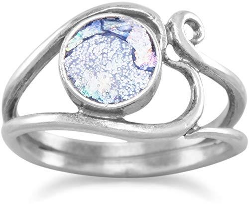 BillyTheTree Jewelry Oxidized Ancient Roman Glass Ring with Heart Design Silvertone (7)