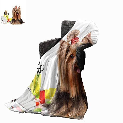 vanfan-home Yorkie Beach Blanket,Yorkshire Terrier with Stylish Hairdressing Equipment Mirror Scissors Cozy and Durable Fabric-Machine Washable (90