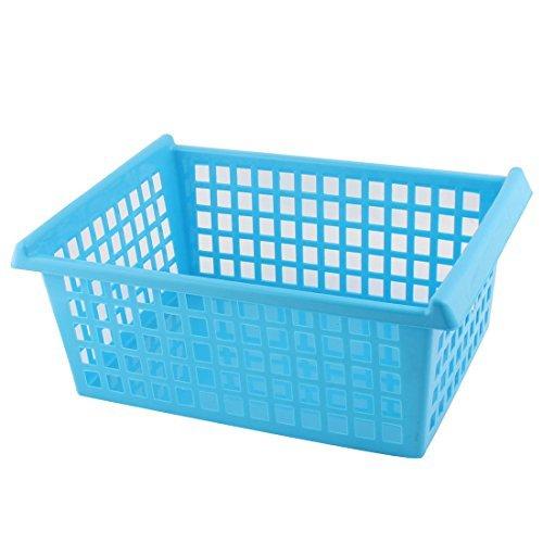 DealMuxプラスチック家庭用長方形形状中空アウトデザインストレージオーガナイザーバスケットブルー B072SNGSCZ