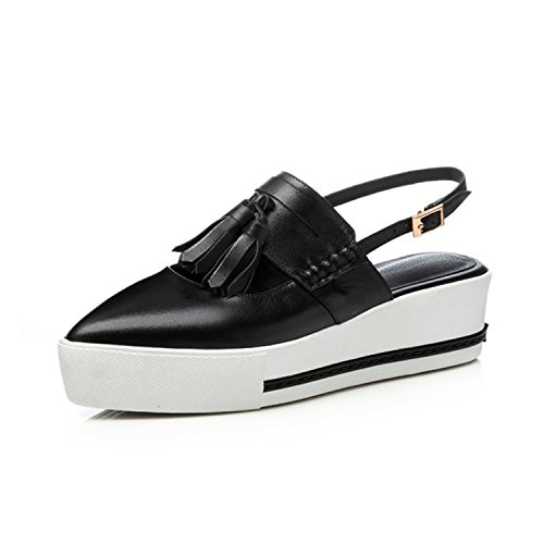 Casual High Heeled Pointed Toe Tassel Genuine Leather Footwear Shoes,Black,5 (Euro Golf Leather Shoe)