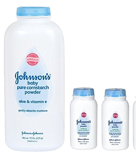 - Johnson's Pure Cornstarch Baby Powder 15 Oz + Johnson's Pure Corstarch Travel Size 1.5 Oz, 2 pk