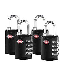 TSA Luggage Locks,TSA Approved Travel Combination Luggage Locks for Suitcases-4 Pack (Black)
