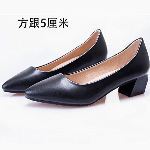 GAOLIM El Código Azafatas Calzado Mujer Negro Zapatos De Tacón Alto Profesional De Fondo Plano Con Punta De Áspero Y Etiquette Entrevista Zapatos De Mujer Singles Femeninos Zapatos Un negro5Cm