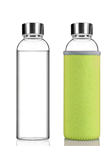 HMILYDYK Glass Water Bottle Environmental Borosilicate Glass Bottles for Camping, Cycling, Workouts, Running 360ml 12.6oz (12.6 Ounce Bottles)