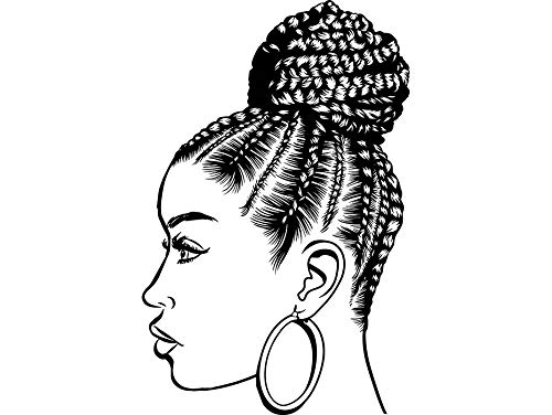 EvelynDavid Black Woman Braids Hairstyle Stylish Princess Princess Queen Beautiful Diva Style Female Lady Sticker Vinyl Decal Vector Clipart Digital Circuit Cut Cutting - Beautiful Braids