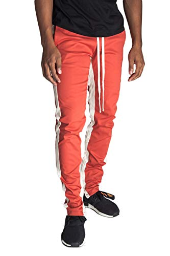 KDNK Men's Tapered Skinny Fit Stretch Drawstring Ankle Zip Striped Track Pants (Small, Blood Orange/Nude Stripe) ()