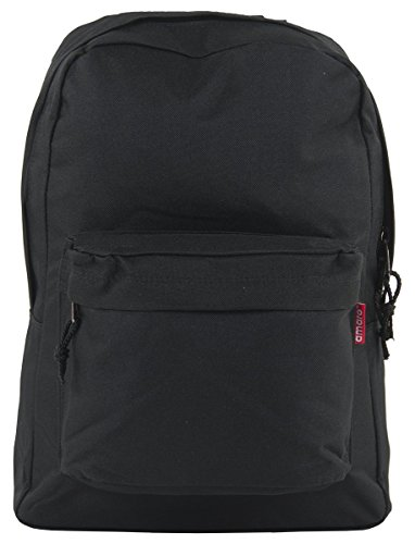 Amaro Small Basic Backpack with Front Zipper Pocket (Black)