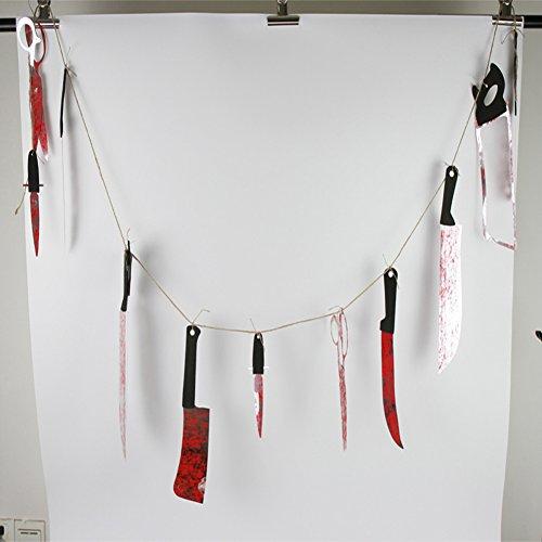Halloween Deko Blutige Girlande Mit 12 Messer Modell Gruseliges Handwerkzeug Girlande Banner