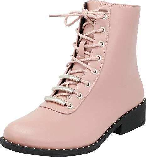 Cambridge Select Women's Round Toe Studded Lace-up Chunky Low Heel Combat Boot,7 B(M) US,Mauve PU