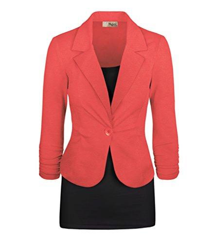 HyBrid & Company Women's Casual Work Office Blazer Jacket JK1131 350 Coral - Jacket Office
