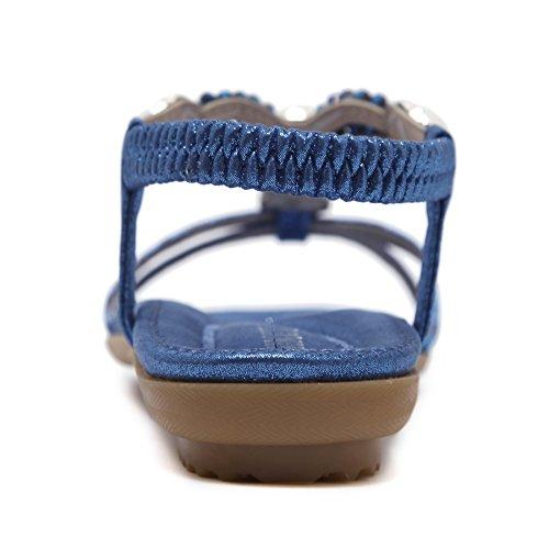 Sandali da Grandi Scarpe da di Etnico Strass Bohemien per SKT Donna Spiaggia estive Stile con Blu Donna Suetar Dimensioni FqExA5pSwR