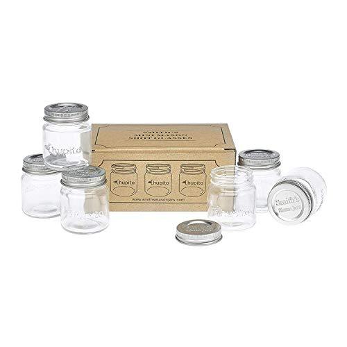 """Smiths Mini Mason Jar set of 6""""Chupito"""" Shot Glasses with Lids - 2oz Per Shot Glass from Smith's Mason Jars"""