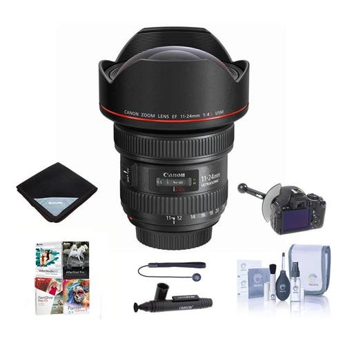 Canon EF 11-24mm f/4L USM Ultra-Wide Zoom Lens - Bundle with FocusShifter DSLR Follow Focus and Rack Focus, Lens Wrap (19x19), Cleaning Kit, LensPen Cleaner, Lens Cap Tether, Software Package