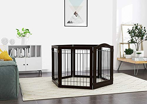 PAWLAND 144-inch Extra Wide 30-inches Tall Dog gate with Door Walk Through, Freestanding Wire Pet Gate for The House, Doorway, Stairs, Pet Puppy Safety Fence, Support Feet Included, Espresso,6 Panels by PAWLAND (Image #2)