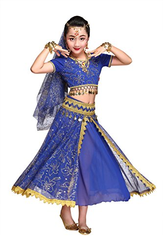 Feimei Girl's Exotic Jasmine Belly Dance Costume Set with Halter Top Parkly Fringe Skirt and Sequin Coins Designed for Performance Cosplay Carnival and Halloween Party (Blue, Medium)