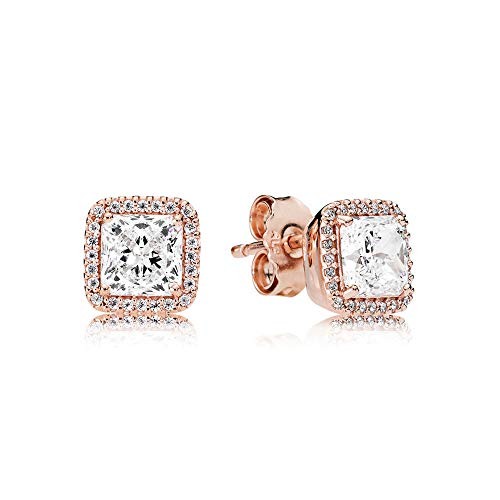 Pandora Timeless Elegance Rose Gold Stud Earrings with Clear CZ 280591CZ