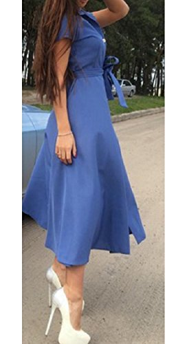Vestito Coolred Ha Divise donne Di Colore Manica Breve Maxi Allacciato Tasto Solido Mid Blu E wxOw5rYq