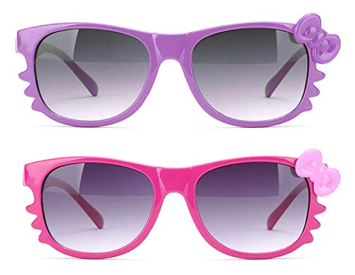 Newbee Fashion - Kyra Kids Retro Hello Kitty w/Bow and Whiskers Lead-Free Girl Sunglasses (0-5 -