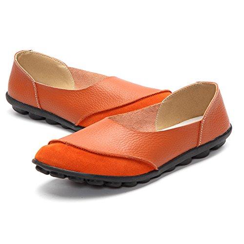 Lingtom Dames Instappers Casual Lederen Mocassin Schoenen Plat Voor Het Rijden Oranje