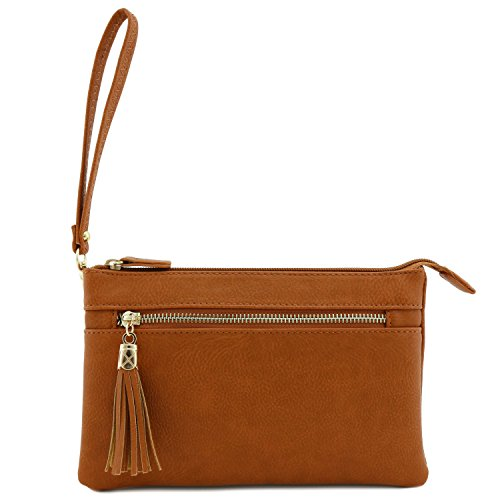 Tan with Double Bag Wristlet Crossbody Compartment Tassel IxFqwY