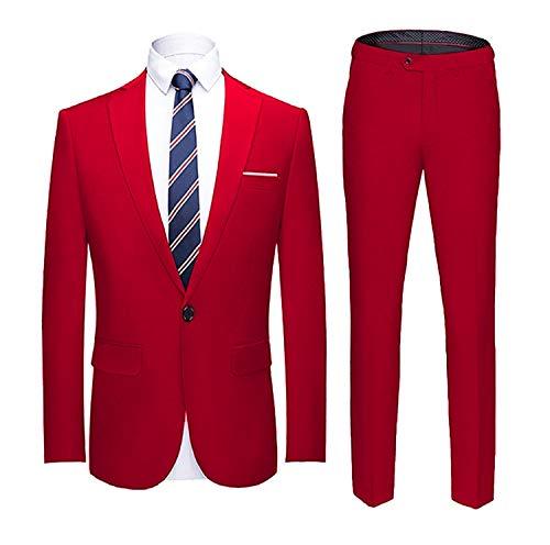 YIMANIE Men's Suit Slim Fit One Button 2 Piece Suit Tuxedo Business Wedding Party Casual - Tailored Suit Piece 2