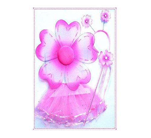 Girl's 3 Piece Tutu Costume Set (Pink Flower) (Adult Flower Halloween Costume)