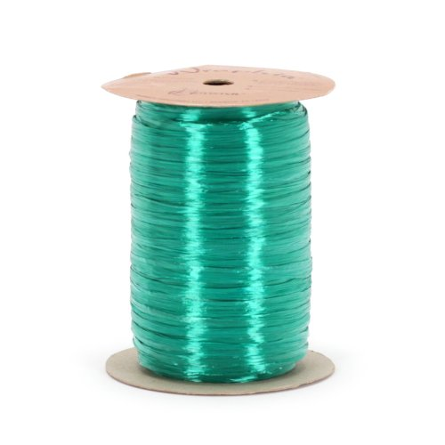 Berwick Offray Teal Pearlized Raffia Ribbon, 1/4'' Wide, 100 - Rayon Pearlized Raffia Ribbon