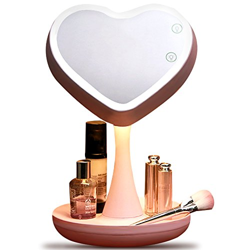 Heart Vanity - WPT Makeup Mirror with Lights and Magnification 5X Rechargeable Vanity Mirror with Dimmable LED Mood Light, 180°Adjustable Rotation,Cosmetic Organizer Base, Built-in Battery (Pink)