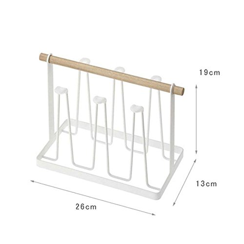 TOOGOO 1pc Creative Metal Storage Rack Stylish Mugs Cups Holder Draining Rack Wood Handle Stylish Storage Holders