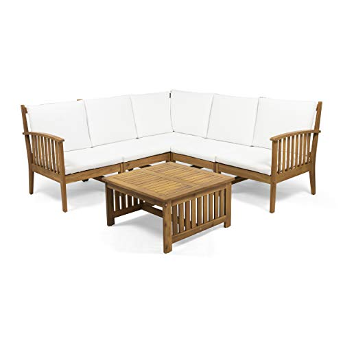 Maud Outdoor 5 Seater Acacia Wood Sofa Sectional Set, Brown and White