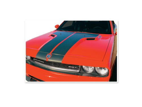 2008 2009 2010 2011 2012 2013 Dodge Challenger SRT8 Hood Header Decals Stripes - CHARCOAL