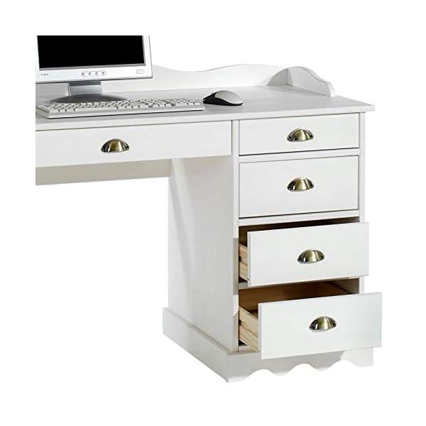 IDIMEX Bureau Colette Rangement avec 5 tiroirs et Plateau avec corniche, en pin Massif lasuré Blanc