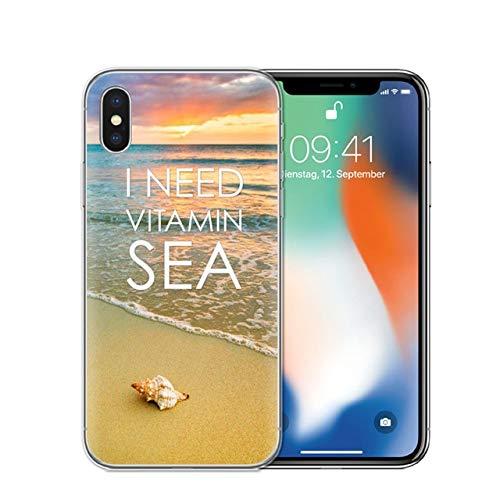 Brown Beige Beach Theme iPhone 6 PLUS SIZED Case, BIGGER SCREEN White Orange Tropical Pattern 6S PLUS Cover Tropics Water Waves Sunset Coastal Beach Themed Palm Trees Ocean Sand Sea ()