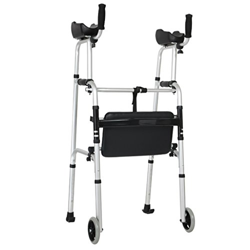 Standard Walkers Foldable Walker Adjustable Walking Assist Equipped Wheels equipped with arm rest pad for the elderly and people with limited mobility bearing 100KG silver (Color : With seat board)