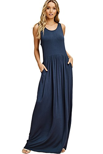 Annabelle Women's Sleeveless Racerback Loose Fit Plain Maxi Dresses Casual Full Length Long Dresses with Side Pockets Slate Small D5187K