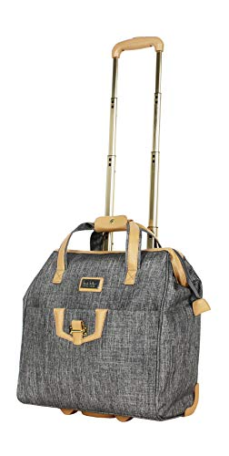 Nicole Miller New York Paige Carry on Bag Wheeled Cabin Tote (One Size, Paige Silver)