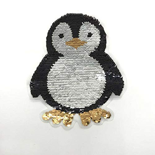 Embroidered Penguin Sew On Clothes Sequins Patch Applique Crafts Double Side