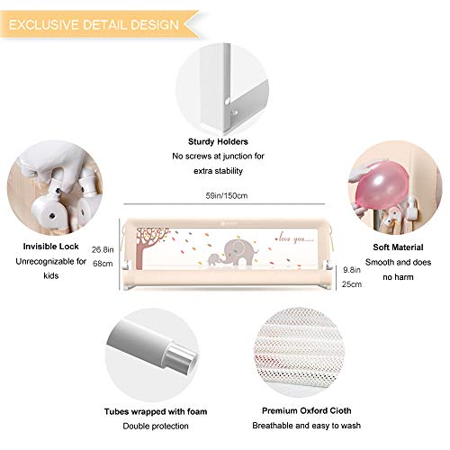 Measuring Up to 8 Around 100/% Silky Soft Microfiber Polyester Reversible White//Pale Gray TILLYOU 1-Pack Padded Baby Crib Rail Cover Protector Safe Teething Guard Wrap for Long Front Crib Rails