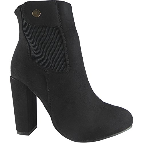 Ankle 8 3 High Block Size Heel Black Chunky Womens Boots 8xBIRw4Pnq