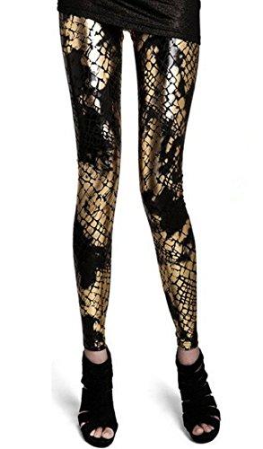 Efashionmx Womens Punk Metallic Shiny Snake Skin Pattern Leggings (Small, Black) (Snake Skin Pattern)