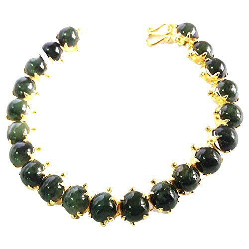 "KARATGEM 7.5"" Natural Gemstone Bracelet Chain Bangle Beads Strain Mix Color GP"