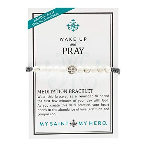 My Saint My Hero Wake Up Pray Meditation Bracelet – White Howlite