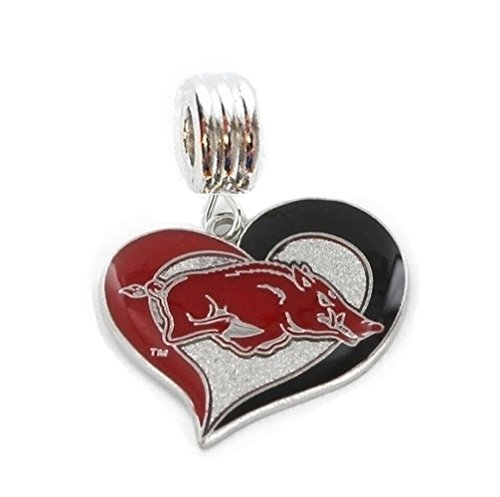 Heavens Jewelry University of Arkansas Razorbacks Heart Charm Slide Pendant for Your Necklace European Charm Bracelet (Fits Most Name Brands) DIY Projects ETC