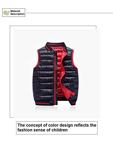 3 for Children Jacket Winter Warmer Body Gilet Zipper Vest Boys Outerwear Year 8 Down BESBOMIG Coats Waistcoat Sleeveless Girls Autumn Black ApqT6